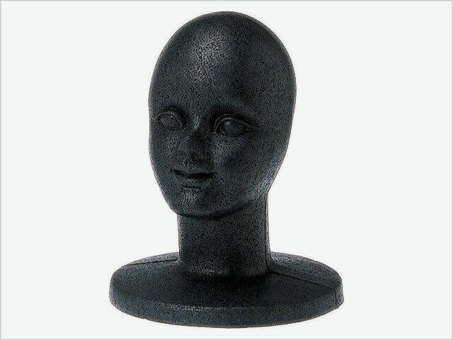 発泡ヘッドマネキン 顔付 黒