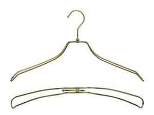 湾曲ダブルワイヤーハンガーアンティークゴールド肩幅38cm