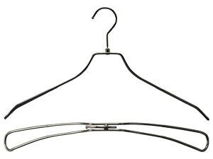 湾曲コーティングダブルワイヤーハンガーブラックニッケルメッキ肩幅42cm