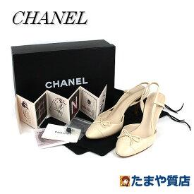 CHANEL シャネル ミュール 35 1/2C 日本サイズ22.5cm レザー ベージュ イタリア製 靴 16240 【中古】