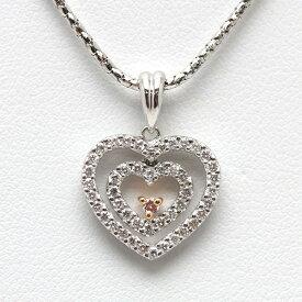 K18WG ハートモチーフネックレス ダイヤモンド 0.48ct 40cm イタリア製 14531 【中古】