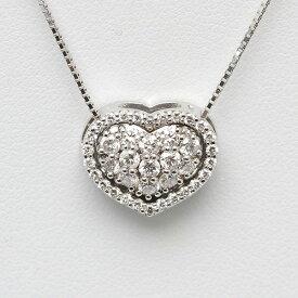 K18WG ハートモチーフネックレス ダイヤモンド 0.80ct 45cm 18金 ホワイトゴールド ベネチアンチェーン 14532 【中古】