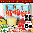 【送料無料】★リンゴ ジュースランキング1位獲得★青研の葉とらずりんごジュース 1000g×6本入り 葉とらずりんご10…