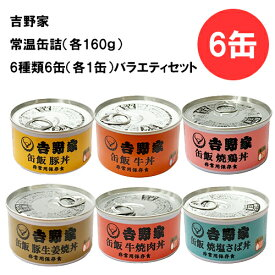 吉野家 缶詰 6缶 バラエティセット アソート 160g 非常食 防災 地震時に
