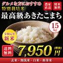 【令和元年産新米】【送料無料】秋田県 大潟村産 特別栽培米 最高級 あきたこまち 15kg(5kg×3袋)