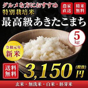 【令和元年産新米】【送料無料】秋田県 大潟村産 特別栽培米 最高級 あきたこまち 5kg