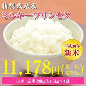 【30年産新米】【送料無料】秋田県 大潟村産 特別栽培米 ミルキープリンセス 20kg(5kg×4袋)