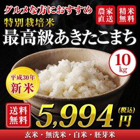 【30年産新米】【送料無料】秋田県 大潟村産 特別栽培米 最高級 あきたこまち 10kg(5kg×2袋)