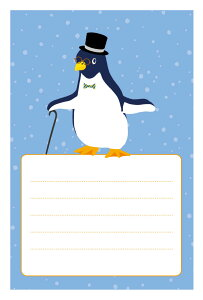 《私製 5枚》魔法ペンギン 寒中・余寒見舞いに 《切手なし/裏面印刷済み/ポストカード》