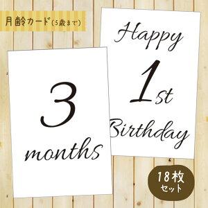 ベビーマンスリーカード 18枚セット(5歳まで)design1 月齢フォト 月齢カード シンプル 成長記録に 記念日 出産祝い