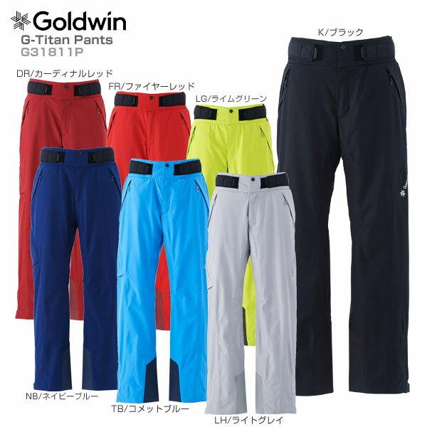 【P5倍!】【あす楽】【18-19 NEWモデル】GOLDWIN〔ゴールドウィン スキーウェア パンツ〕<2019>G-Titan Pants G31811P【GORE-TEX】【送料無料】【MUJI】【TLGW】