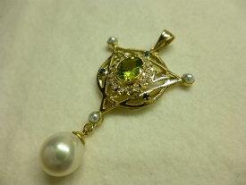 【工房手作り】 一点もの アンティークデザイン K18 ペンダントトップ ペリドット Peridot サファイア Sapphire ダイヤモンド あこや真珠 【送料無料】 #138 ダイヤ Diamond あこやパール 真珠 パール Pearl