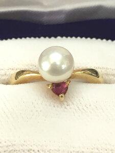 【送料無料】 あこや真珠 K18 ルビー リング #44 指輪 あこやパール 真珠 パール Pearl Ruby
