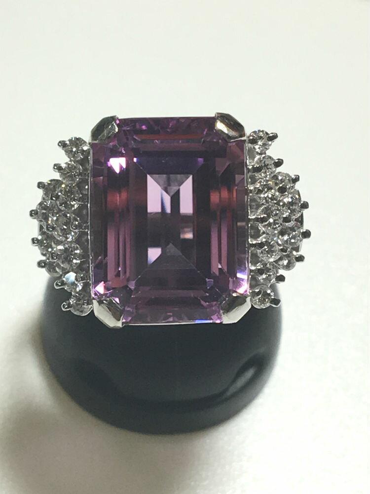 【送料無料】 Pt900 クンツァイト ダイヤモンド リング #280 指輪 プラチナ kunzite ダイヤ Diamond 豪華 華やか 綺麗 大きい 特別価格