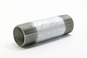 シーケー金属 鋼管用ネジ込 白継手 ロングニップル : LN 20A×150L∴(3/4B) ガス 管 捻込 継手 鉄管 ねじこみ 冷温水 エア 蒸気 蒸気還管 高温水 消火 消防 SP スプリンクラー 配管 接手