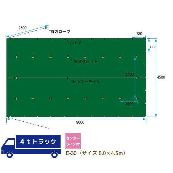 トラックシート 4t トラック 荷台 シート カバー ゴムバンド付 サイズ 8.0m×4.5m 平シート E-30