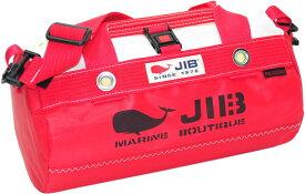 JIB ダッフルバッグSSボーダー DSSB146 モノカラー・レッド W32×φ17cm 約7Lポケット付き