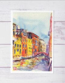 ヴェネチア運河 ( ポストカード 絵葉書 絵はがき 水彩画 風景画 おしゃれ イタリア ヨーロッパ ノスタルジック ヴェネチア ベネチア ヴェニス ベニス 運河 橋 )