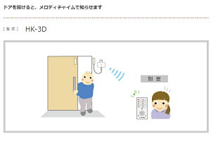ドアスイッチ 送信・受信器セット 家族コール3 D タイプ メロディチャイム HK-3D 介護用品 認知症 徘徊防止