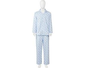 介護パジャマ 介護用寝間着 ソフトケアパジャマ 面ファスナータイプ 紳士用 ブルー 介護用品