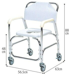 シャワーキャリー アルミ製シャワーチェア 後輪ダブルストッパー TY535DX 入浴用車いす 入浴用車椅子