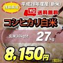 【★】<徳島県産こしひかり><こしひかり>白米27kg【送料無料!一部地域を除く】平成28年度産 新米
