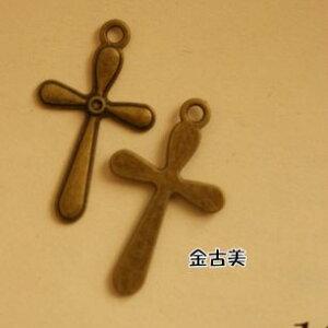 【ハンドメイドパーツ素材】アンティーク風・メタルチャーム・デコ・金古美・十字架 (15個入)【O182-GA】