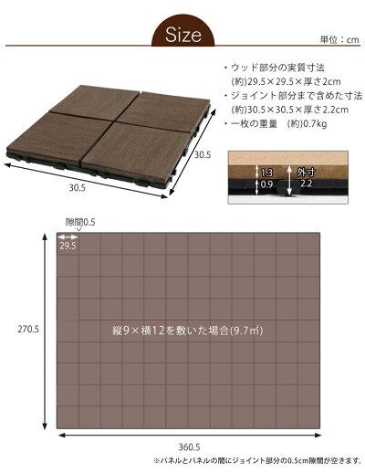 ウッドデッキパネル樹脂81枚セット30×30cm人工木