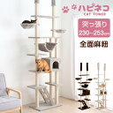 猫ちゃん喜ぶ全面麻ひも!【送料無料】 キャットタワー 高さ230〜253cm 突っ張り 猫タワー 爪研ぎ 麻紐 ねこ 猫 ネコ …