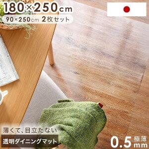 ★20時〜6H全品P5倍★【送料無料/在庫有】目立たない極薄0.5mm 日本製 180×250 透明ダイニングマット 撥水 2枚セット 拭ける フロアマット テーブルマット チェアマット クリアマット キッチン