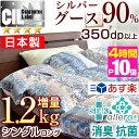 増量1.2kg!★今夜20時〜 4時間全品P10倍★【送料無料/即日出荷】 【あす楽対応】 日本製 シルバーグースダウン 90% …
