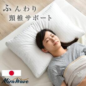 【送料無料】 枕 日本製 3次元立体構造 43×63cm 抗菌わた入り 綿100% 40サテン 頸椎サポート やわらかめ ホワイト つぶわた コットン 抗菌 ミラウェーブ ピロー 横向き 仰向け マクラ まくら 肩こり 枕首 首 マクラ
