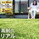 2個セット 超リアル極細人工芝【送料無料】 人工芝 ロール 1m×10m 毛足35mm u字ピン 48本 水はけ リアル 10m ピン セ…