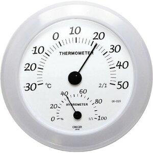 クレセル クレセル 温度計・湿度計 壁掛け用 CR-223W ホワイト 4955286805855