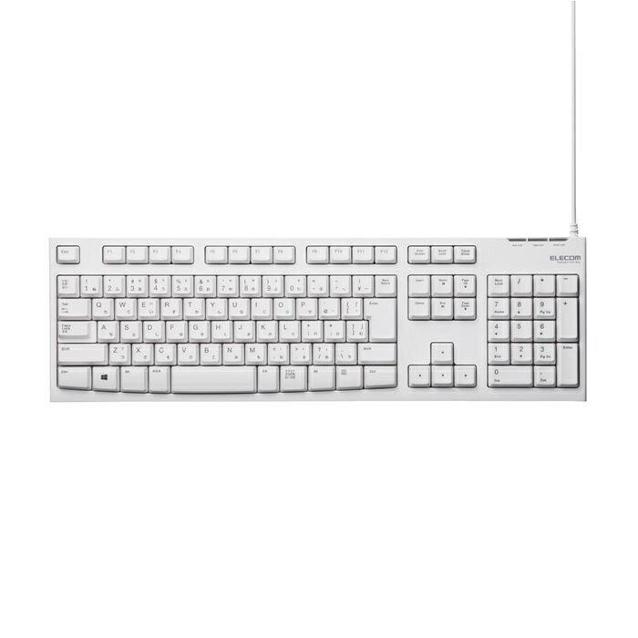 エレコム メンブレン式キーボード/108キー/USB/Lサイズ/1000万回高耐久/ホワイト TK-FCM062WH