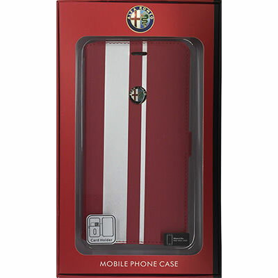 Alfa Romeo(アルファロメオ) 【iPhone 6 Plus】High Quality Synthettic Leather book case w/card holder Red レッド AR-SSHFCIP6P-MI/D2-RD