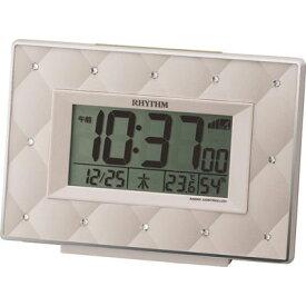 リズム時計 電波時計 目覚まし時計 電子音アラーム 温度 湿度 カレンダー フィットウェーブアビスコ(ベージュ) 8RZ167SR38