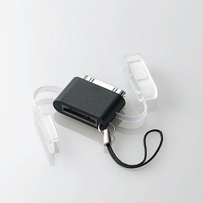 エレコム au用携帯充電器⇔DOCK変換アダプタ/直挿し/ブラック MPA-AUDADBK