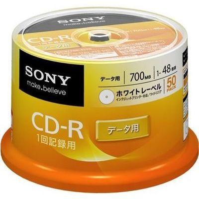 ソニー 1〜48倍速対応 データ用CD-Rメディア 700MB・50枚 50CDQ80GPWP【納期目安:2週間】