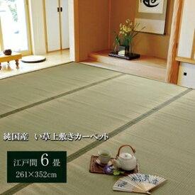 その他 純国産/日本製 双目織 い草上敷 『草津』 江戸間6畳(約261×352cm) ds-783206