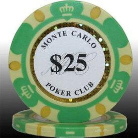 その他 MONTECARLO モンテカルロ・ポーカーチップ<25>緑 25枚セット ds-729543