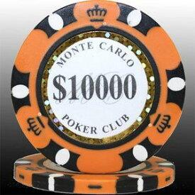 その他 MONTECARLO モンテカルロ・ポーカーチップ<10000>橙 25枚セット ds-729608