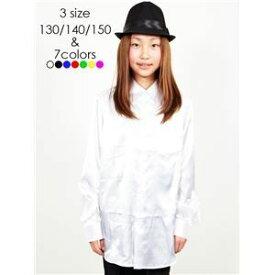 ad47014658901 その他 キッズダンス衣装  サテンシャツ ホワイト 130サイズ  ドライクリーニング可 ポリエステル 『