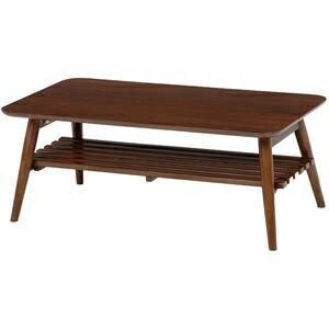 その他 折れ脚テーブル(ローテーブル/折りたたみテーブル) 長方形 幅90cm 木製 収納棚付き ブラウン【代引不可】 ds-1314517