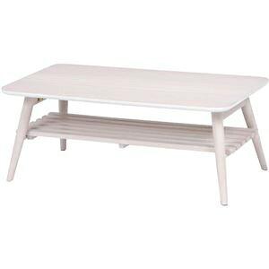 その他 折れ脚テーブル(ローテーブル/折りたたみテーブル) 長方形 幅90cm 木製 収納棚付き ホワイト(白) ds-1314518