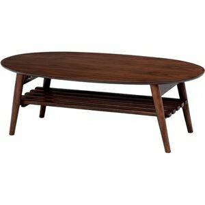 その他 折れ脚テーブル(ローテーブル/折りたたみテーブル) 楕円形 幅100cm 木製 収納棚付き ブラウン【代引不可】 ds-1314519