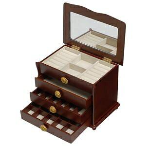 その他 大容量ジュエリーボックス(宝石箱) 4段収納 幅26cm 木製 コンパクト ブラウン ds-1314639