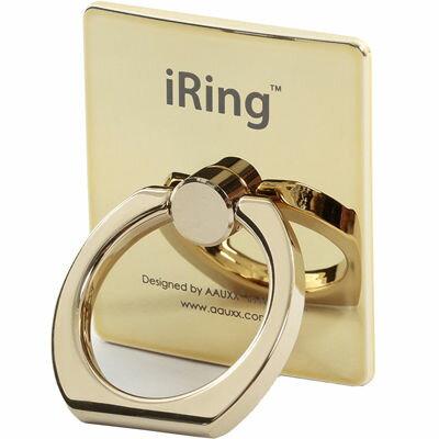 iRing 【正規輸入品】iRing Limited Edition 限定版 オークス スマホグリップ スタンド ゴールドシャフト/ゴールド スマホ タブレット用 落下防止 EE-04406