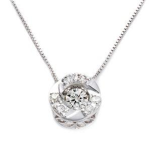 その他 ダイヤモンドペンダント/ネックレス 一粒 K18 ホワイトゴールド 0.2ct ダンシングストーン ダイヤモンドスウィングネックレス 揺れるダイヤが輝きを増す サークルモチーフ 揺れる ダイヤ 鑑別書付き ds-1568157