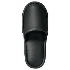 その他 (まとめ) TANOSEE 最高級レザー調スリッパ 外縫い 大人用 ブラック 1足 【×5セット】 ds-1572433
